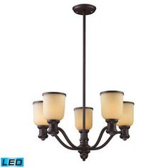 Elk Lighting Brooksdale 5 Light LED Chandelier in Oiled Bronze And Amber Glass