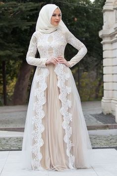 Shayan Abiye Dress - Lace Detailed White Abi Dress 10651