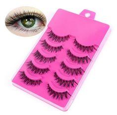 5+Pairs+Natural+Long+Cross+False+Eyelashes+Voluminous+Makeup+Pink+Box(BICP056318)