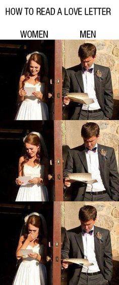 How to read a love letter women vs men