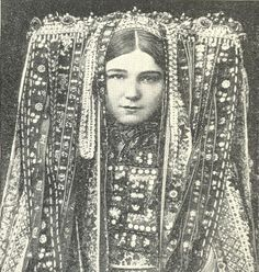 "headdress Czech woman, scanned from ""Peoples of the world in pictures"""