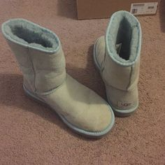 UGG Boots 100% authentic - baby blue Baby blue, have been waterproofed, great condition, see wear in pics. UGG Shoes