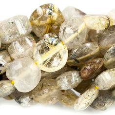 6mm Golden Rutilated Quartz Faceted Coin Beads 13 inches 58 beads