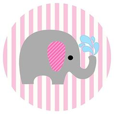 Baby Girl Elephant Stickers Label Party Favors for Baby Shower - Pink Stripes - Set of 50 @adorebynat