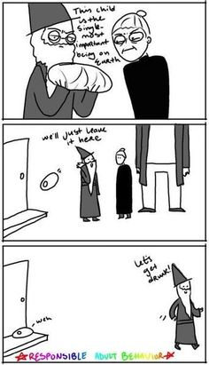 Responsible adult behavior with Dumbledore, McGonagall, and Hagrid.