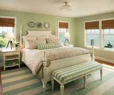 25 Cool Beach Style Bedroom Design Ideas - Make your bedroom a relaxing getaway with a beach themed bedroom. Green Bedroom Design, Sage Green Bedroom, Master Bedroom Design, Home Bedroom, Bedroom Furniture, Green Bedrooms, Bedroom Beach, Bedroom Designs, Bedroom Fun