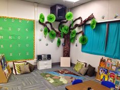 If your child is in KIWI, this is our circle time area! We were going for a majestic forest theme. Leader In Me, Forest Theme, Jungle Safari, Circle Time, Fairy Dust, Working With Children, Classroom Decor, Teacher Resources, Preschool Activities