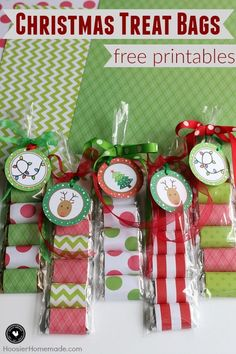 Create these easy Christmas Treat Bags in minutes! Perfect for classroom treats, teacher gifts, neighbors, friends or family! Grab the FREE Christmas Printable to add to the scrapbook paper wrapped candy! Learn more on HoosierHomemade.com