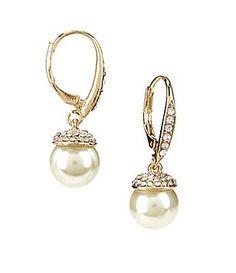 Cezanne Pavé-Capped Faux-Pearl Drop Earrings