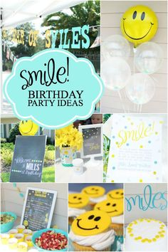 A Smiley-Face Boy's First Birthday Party