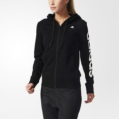 This women's training hoodie wicks away moisture with climalite® fabric. Made with soft French terry, it shows off a bold adidas logo down the left sleeve.