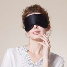 73cf98bcc LUXVEER Authentic Natural Silk Sleep Mask Super Smooth Blindfold Eye Mask  with 2 Free Ear Plugs (Black)