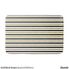 Gold Black Stripes Bath Mats