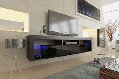 Orren Ellis Böttcher Wall Mounted Floating TV Stand for TVs up to Color: Gray Floating Tv Stand, Living Room Storage, Floating Tv Unit, Furniture, Family Room, Home, Wall Mounted Tv, Floating, Easy Wall