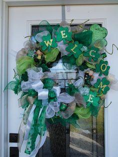 St Patrick's Day wreath by LanaRayneCreations on Etsy,