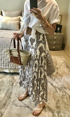H&M skirt & shirt .. Mango tote .. Amazon Fashion belt & flip flops Fashion Belts, Resort Style, Cloth Bags, Preppy Style, My Bags, Style Icons, Straw Bag, Spring Fashion, Style