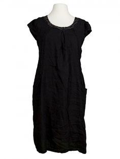 Damen Leinenkleid mit Häkelspitze, schwarz von Spaziodonna bei www.meinkleidchen.de