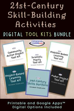 This bundle has the guiding materials to develop learning experiences for high schoolers that promote 21st-century skill-building. The bundle includes tool kits for project-based learning, problem-based learning, scientific open-inquiry, community action projects, maker projects, and a Google Slides e-portfolio where students can share evidence of 21st-century skill-building through self-directed learning experiences. Check out the bonus resource, too! #projectbasedlearning Problem Based Learning, Project Based Learning, Experiential Learning, 21st Century Skills, Teacher Blogs, Blog Love, Homeschool Curriculum, School Ideas, High School