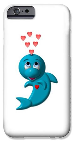 Cute Dolphin With Hearts iPhone Case by Rose Santuci-Sofranko .... #art #children #toddlers #baby #kids #nursery #forsale #cards #tshirts #prints #pillows #duvets #totebags #showercurtains #phonecases #Artist4God   #RoseSantuciSofranko #hearts #love #preschool #alphabetical #educational #cute #critters #animals #nature #fineartamerica #pets #products   #dolphins