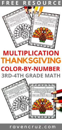 Click now to grab this free Thanksgiving multiplication color by number worksheet for and math. Use the worksheet for students to practice multiplication fluency in math centers, math rotations, etc. Math Coloring Worksheets, 4th Grade Math Worksheets, Third Grade Math, Math Activities, Math Rotations, Math Centers, Multiplication Strategies, Thanksgiving Math Worksheets, Fourth Grade Thanksgiving Activities