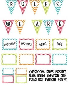 Classroom Rules Posters with Bright Chevron and Polka Dot