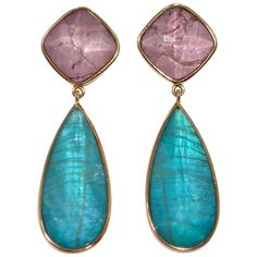 Jona Multiple Layer Gemstone Gold Drop Earrings | From a unique collection of vintage drop earrings at https://www.1stdibs.com/jewelry/earrings/drop-earrings/