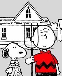 Snoopy & Charlie Brown -- by Charles Schultz. American Gothic House, Grant Wood American Gothic, American Gothic Parody, American Art, Snoopy Love, Charlie Brown And Snoopy, Snoopy And Woodstock, Deviant Art, Comic Cat