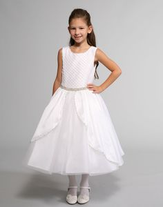 Sweetie Pie Collection Style 3041 - WHITE Satin Dress with Lattice Bodice and Rhinestone Accents White Satin Dress, Satin Tulle, Satin Dresses, Designer Flower Girl Dresses, Cute Flower Girl Dresses, Dresses For Less, Christening Gowns, White Girls, Holiday Dresses