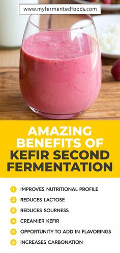 Discover all the amazing benefits you can get by second fermenting kefir. Just by second fermenting kefir you can get more rich probiotics, add kefir flavors, and make kefir fizzy. Take a look to see all the details. Kefir How To Make, Kombucha How To Make, Kefir Recipes, Healthy Recipes, Kefir Benefits, Probiotic Drinks, Lactose Free Diet, Fermentation Recipes, Flavored Milk