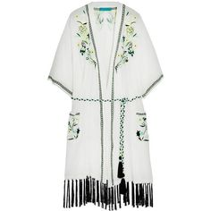 Matthew Williamson Embroidered silk-chiffon kimono jacket (£263) ❤ liked on Polyvore featuring outerwear, jackets, white, oversized jacket, colorful jackets, white kimono jacket, white jacket and embroidery jackets