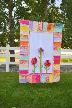 RAG QUILT Ruffled Flower Pink Yellow Orange by avisiontoremember Quilting Projects, Quilting Designs, Sewing Projects, Flag Quilt, Quilt Blocks, Patch Quilt, Fabric Crafts, Sewing Crafts, Diy Crafts