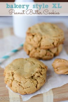 These Bakery Style Peanut Butter Cookies are a peanut butter lovers dream! Filled with peanut butter chips, they are a thick and chewy XL cookie!