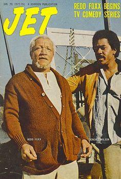 1972 — Redd Foxx & Desmond Wilson The premiere of 'Sanford and Son' Jet Magazine, Black Magazine, Life Magazine, Comedy Series, Comedy Tv, Ebony Magazine Cover, Magazine Covers, Redd Foxx, Sanford And Son