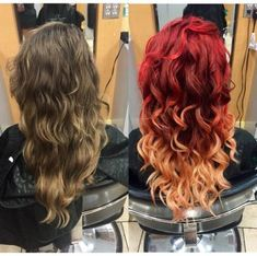 Took this natural boring lifeless hair to a beautiful Fire ombré! So red red… Took this natural boring lifeless hair to a beautiful Fire ombré! So red red and so red red copper on the top and light master w 20 v on the bottom! Magenta Hair Colors, Hair Color Auburn, Auburn Hair, Ombre Hair Color, Red Hair With Ombre, Red Ombre, Fire Ombre Hair, Fire Hair, Dyed Curly Hair