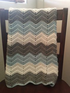 Crochet chevron baby blanket on Etsy, $40.00