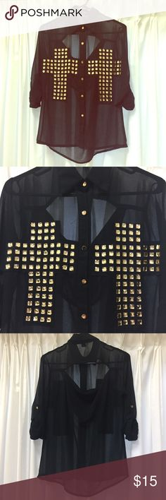 Forever 21 Double Cross Button Front Top in Black Worn only once! Forever 21 long sleeve collared top with gold button up front in sheer black. Sleeves can be cuffed and buttoned up as well to be 3/4 length as in the photos. Gold jewels adorn the front in a double cross pattern. The back has an opening at the top for even more detail. There is one tiny snag near the back collar of the top (please see 4th pic), but other than that it is in great condition; no rips, stains, or defects. ❤…