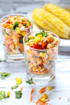 Sweet corn is one of my kids ultimate favorite vegetables and this sweet corn salad is a great to incorporate this tasty vegetable. Salad Bar, Soup And Salad, Chia, Corn Salads, Savory Salads, Tasty, Yummy Food, Cooking Recipes, Healthy Recipes