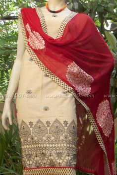 Designer Chanderi Cotton Unstitched Suit fabric | India1001.com
