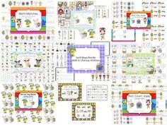 April Mega Bundle of Math & Literacy Stations - Kindergarten - Write the Room; Writing Words; Syllables; Roll, Say, Keep; Scoot!; Knuffle Bunny; Time; Skip Counting; Math Matches; and Cut Apart Puzzles!!!