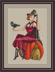 Halloween Cross Stitch Pattern Witch Pumpkin PDF - Cross Stitch Patterns Printable