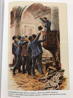 Austrian Jaegers celebrate victory at Custozza 1866, Inside of church in Dobruska prior to Battle of Náchod 1866