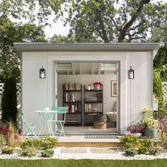Make your She Shed a soothing space. It's easy to add whimsical touches by hanging attractive curtains and perhaps even fairy lights.