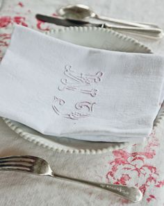 Monogrammed napkin on Cabbages and Roses Hatley tablecloth from Modern Country Style blog: Living Life Beautifully by Christina Strutt: Book Review