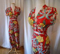 On Hold Killer 1940's Hawaiian red rayon floral print 2 piece playsuit set pants midriff top blouse tiki pin up girl - size Medium. $298.00, via Etsy.