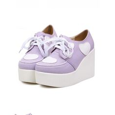 Heart Creeper Wedges (Lavender) from Dolly Dynamite ($45) ❤ liked on Polyvore featuring shoes, creepers, platforms, lavender shoes, platform wedge shoes, light purple shoes, heart shoes and platform shoes