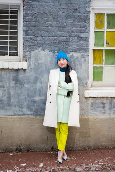 """1 Girl, 4 Looks: Monling Lee Is A Colorblocking Champ #refinery29  http://www.refinery29.com/monling-lee#slide1  We love your approach to dressing with color! Have you always been a fan of bright colors? Have you ever gone through an all-black or crazy-prints phase?  """"While I generally consider myself an introvert, my style personality has always been rather bold and schizophrenic at times. A decade ago, I would juxtapose wearing obnoxiously printed, vintage pieces one day and severely ..."""