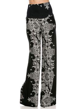 High Waist Fold Over Wide Leg Gaucho Palazzo Pants (Bandana Black) – Niobe Clothing