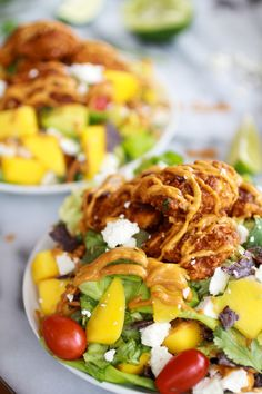 Tortilla Chip Crusted Chicken Salad with Avocado Chipotle Lime Dressing and Queso Fresco - Half Baked Harvest
