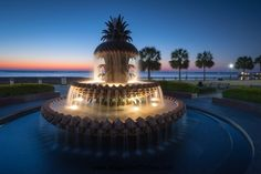 The Pineapple Fountain is illuminated at the waterfront park in Charleston, South Carolina in the early morning blue hour before sunrise. Description from dreamstime.com. I searched for this on bing.com/images
