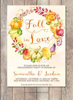 Fall Engagement Party, Fall In Love, Engagement Party Invitation, Fall…